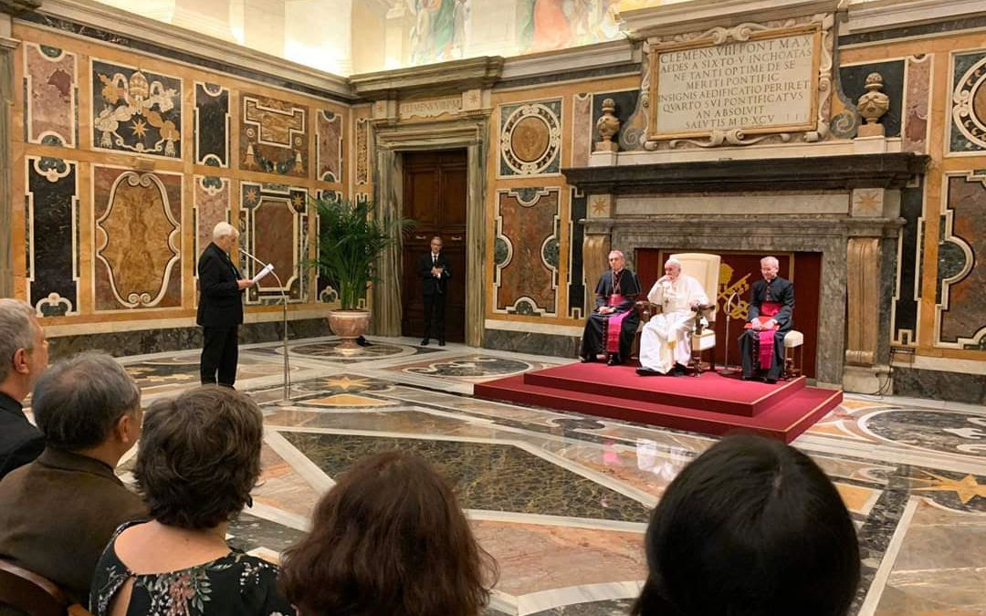 Pope addressing Jesuit Social Justice and Ecology Congress delegates in Rome